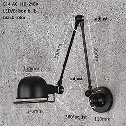 Classic Nordic loft estilo industrial lámpara de pared ajustable Aplique vintage aplique E14 LED para sala de estar dormitorio
