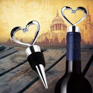 En forma de corazón de plástico tapón de vino botella tapón partido boda favores regalo sellado botella de vino vertedor tapón de la cocina herramientas de barería FFA1971