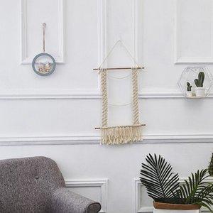 Macrame Tassel Tapeçaria artesanal de malha de algodão tecida Wall Art Tapeçaria Boho Home Decor com vara de madeira para Kids Room Living Room