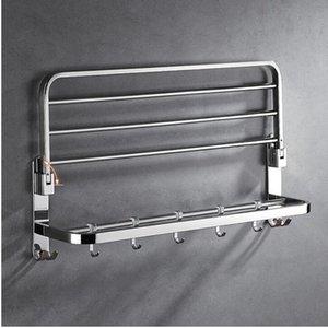 Havlu Raf havlu Raf 304 SUS banyo aksesuarları tırnak veya tırnak ücretsiz katlanabilir çift katmanlı ray hooks ile