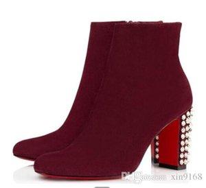 Elegante Suzi Folk cargadores del tobillo, rojo vino, Negro Gamuza talones de señora inferior roja de arranque Mujeres Chunky manera del invierno de arranque con la caja
