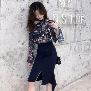 Conjunto de falda de 2 piezas de verano de 2019 conjunto traje fuera del hombro manga flare gasa camisa de flores Top y cintura alta Split lápiz falda