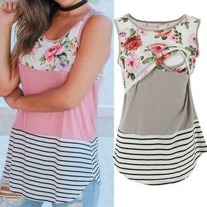 Le donne incinte vestiti di maternità di cura maglietta delle parti superiori patchwork maglietta pura Tee Womens L'allattamento al seno maglietta a righe floreale