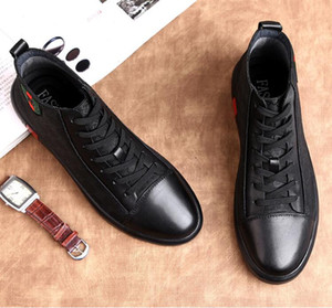 Spring Summer Fashion Men Flats Shoes Luxury Black Casual Mens Canvas Shoes Lace-Up high top Dress Business shoe W196