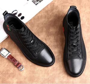 Primavera verano moda hombre zapatos de los planos de lujo negro Casual para hombre zapatos de lona con cordones de alta superior vestido de zapatos de negocios W196