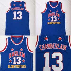 Mens Wilt Chamberlain Harlem Globetrotters # 13 barato baloncesto azul Jersey de la vendimia Wilt Chamberlain Baloncesto bordado camisa
