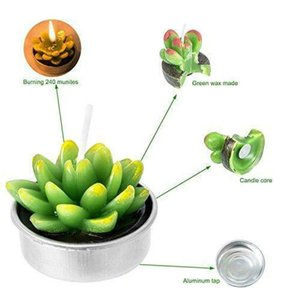 L6pcs Artificial Succulent Plants Cactus Candle For Family Decoration Birthday Party Wedding Site Decoration Candlelight NM