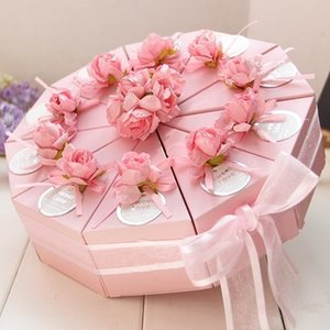 50pcs Pink   Blue Triangular Cake Style Wedding Favors Candy Boxes Party Paper Gift Box With Faux Flower Tags Ribbons (5 Cakes) CY200523