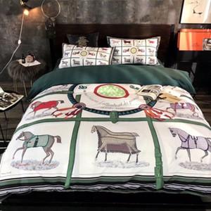 Luxo Logos Carta Imprimir Khaki edredon cobrir Set 4PCS Retro Designers Bedding Sets América Europa Popular Bed Capa Suit