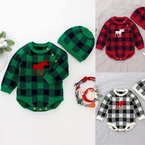 3 colors Christmas baby romper Plaid Elk Printed Girls Boy Xmas jumpsuits Hat Suit Sets One Piece Playsuit 2 piece set Wholesale JY929