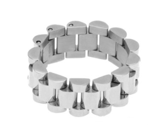 Luxus Überzogene Klassische Männer Ringe Edelstahl Goldene Link Ring Hip Hop Herren Armband Stil Männer Ring Uhren Band Ring