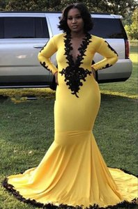 Yellow South African Mermaid Prom Dresses Long Sleeve Deep V Neck Lace Satin Sweep Train Evening Gowns Plus Size Party Dress