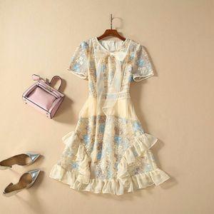 2020 Весна Лето O образный вырез с короткого рукавом Щитовой Bow Милан Runway костюмы платье бренд платье Same Style 12-15.6