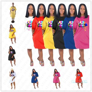 Luxe Summer Loose Women Robes de Rainbow Lips Design tendance pour femmes Filles Casual Plage Sports de plein air longues T-shirt Vêtements D5704