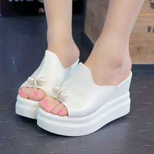 SAGACE Shoes Summer Sandals Women Shoes Ladies Slippers Thick-Bottom Solid Pearl Waterproof Wedge Flat Sandals For Girls