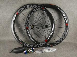 23mm genişlik r13 Seramik hub ücretsiz kargo ile Beyaz Hollow logosu Colnago 50mm karbon jantlar, karbon bisiklet tekerlekleri 700C kabartılmış
