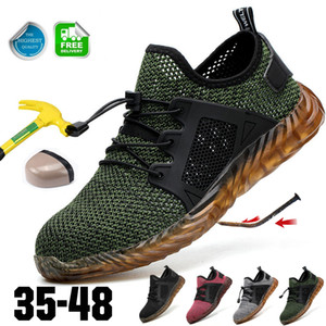 Safety Shoe Mens Steel Toe Cap Sport Outdoor Work Hiking Climbing Trail Breathable Shoes Protective Footwear Trainers Ankle BootDropshipping