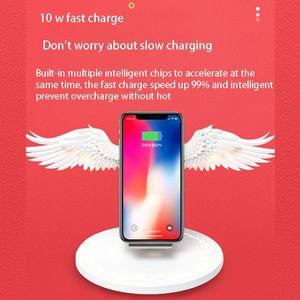 Wireless Ladedock 10W Angel Wings Schnelles Ladegerät für Universal Mobiltelefon Huawei iPhone Samsung mit Nachtlicht Bücherregal Ornament