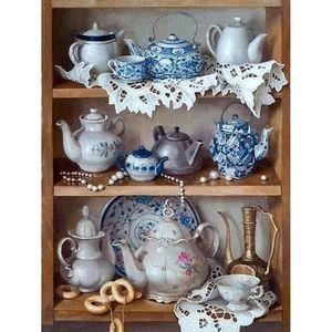5D DIY Diamond Painting Tea Pot Kitchen Shelf Full Drill Diamond Embroidery Cross Stitch Mosaic Rhinestone Home Decor Gifts