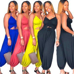 Moda Kadınlar Halter Jumpsuit V yaka Backless Bloomers tulum Yüksek Bel Gevşek Pantalettes Tulumlar Tek parça Bodysuit Casual Giyim Yeni