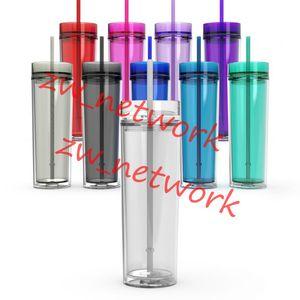 16 oz Akrilik Sıska Bardak Kapaklı Saman 480 ml Çift Duvar Temizle Plastik Bardak BPA Ücretsiz 16 oz düz su şişesi boş k ...