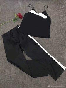 2020 nouvelles print loose logo de spaghetti de la mode d'été des femmes gilet débardeurs et tissu satin pantalon long jambe large TwinSet costume décontracté