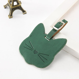 Cat Leather Suitcase Luggage Tag Label Bag Pendant Handbag Travel Accessories Name ID Address Tags