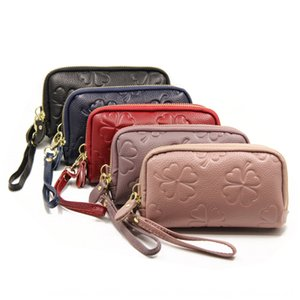 2020 Clover handbag wallet Clover embossing double zip top grain women's leather handbag long leather wallet wallet