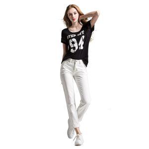 Alice Elmer White boyfriend jeans donna Pantaloni Jeans metà donne del denim della vita femminile Pants