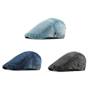 Beret Cap Women Men Summer Sunshade Adjustable Washed Denim Peaked Hat Outdoor Headwear Apparel Accessories