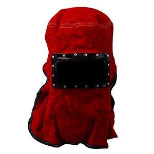 Máscara facial de solda elétrica de couro Proteja a máscara vermelha