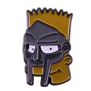 Novo MF Doom Enamel Pin Bart Simpson Badge Pop Mash Up Jóias