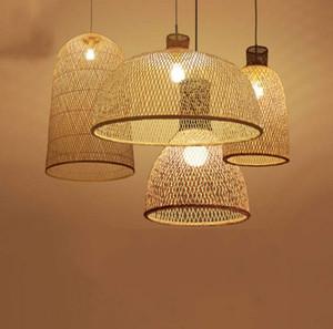 Bambú Arte LED Araña De Madera De Mimbre E27 Estilo Chino Lámparas Colgantes Suspensión Casa Interior Comedor Cocina Luz Luminaria LLFA