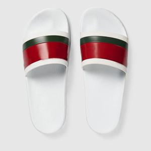 Designer Chaussons mode Luxe slide authentique de fond de brocart floral caoutchouc des femmes d'hommes de vitesse rayé tissé sandales causales plage
