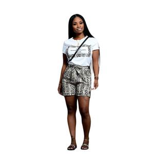 이 조각은 여자 의상 여름 모다 Feminina 라운지 착용 뱀 프린트 T 셔츠 운동복 캐주얼 여성 두 조각 세트를 설정