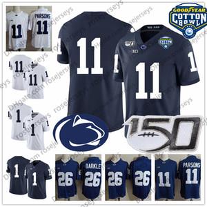 PSU Penn State Nittany Lions Sean Clifford 150th Jersey Micah Parsons KJ Hamler # 14 # 11 # 1 Хломатная чаша 2019 NCAA имя синий белый
