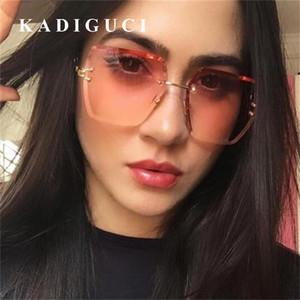 KADIGUCI Brand Sunglasses Women Vintage Female Brand Designer Shades For Women Square Rimless Sunglasses Transparent Red Blue Glasses K324