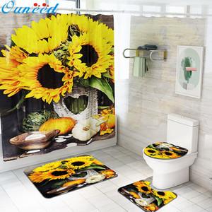 Ouneed Poliban conjunto @@ 4PCS não escorregar girassol padrão WC Poliéster Capa Mat Set Waterproof Banheiro Poliban Y200108