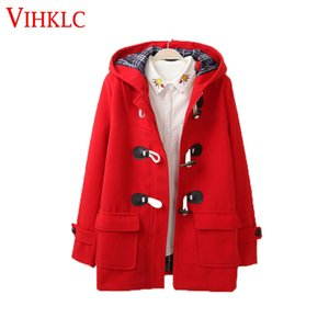 Duffle Coat long Turn Down Klaxon Col capuche Pardessus large Waisted Woollen femme Out Porter Manteau Les manteaux d'hiver FC247
