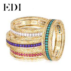 EDI 14K желтое золото Royal Stack кольцо природных алмазов Real Сапфир Рубин Изумруд Gemstone Вечности Обручальное кольцо для женщин CJ191210