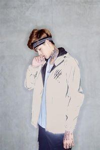 Manica cappotti Contrast da uomo di colore tuta sportiva casuale del progettista del Mens di stampa Giacche regolare Lunghezza con cappuccio lunga cerniera