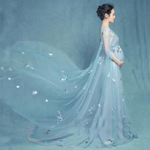 Fiore maternità fotografia oggetti di scena maxi abito abiti gravidanza abiti di maternità per servizio fotografico vestiti per donne in gravidanzaMX190910