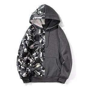 3 cores Mens Hoodies manga comprida Camouflage Sólido cor da costura pulôver camisola com capuz bolsos grandes cordão S-XXL