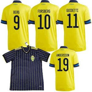 20 21 السويد لكرة القدم جيرسي المنتخب الوطني Ekdal GUIDETTI لارسون IBRAHIMOVIC فورسبرغ المنزل بعيدا 2020 2021 لكرة القدم الرجال والاطفال قميص 4XL