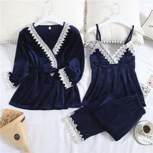 스핑 가을 최신 여성 잠옷 패션 레이스 플란넬 숙녀 잠옷 세트 클래식 세 조각 캐주얼 여성 Nightclothes