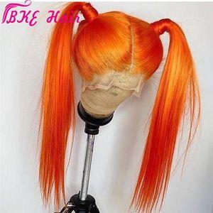 Pelucas de pelo completo de 360Disgos de alta calidad de 180Desis de 180DESTENDIENDO Peluca delantera de encaje sintético de color naranja largo recto para mujeres traje