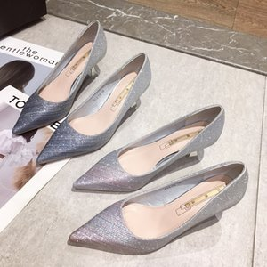 Ms. small fresh fairy female high-heeled shoes with thin cat with bridesmaid shoes 2020 spring models wild wedding shoes new s