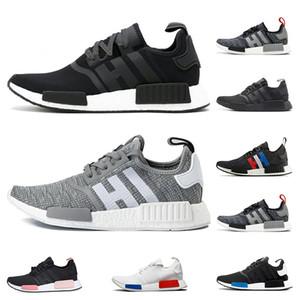 Adidas NMD R1 koşu ayakkabıları Primeknit klasik OG Üçlü siyah Beyaz kırmızı Koşu ayakkabıları Erkekler Kadınlar bej Koşucu Spor sneaker Ayakkabı EUR 36-45