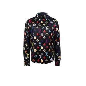 Nueva camisa de diseñador de estilo europeo y americano, con estampado de color, camisa de vestir de los hombres delgados camisa casual de los hombres Medusa