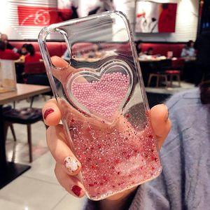 Mytoto liquide coeur Paillettes sourire Nuages visage Phone Cases pour iPhone X XR XS Max 6 6S 7 8 Plus Ice Cream souple dynamique couverture arrière